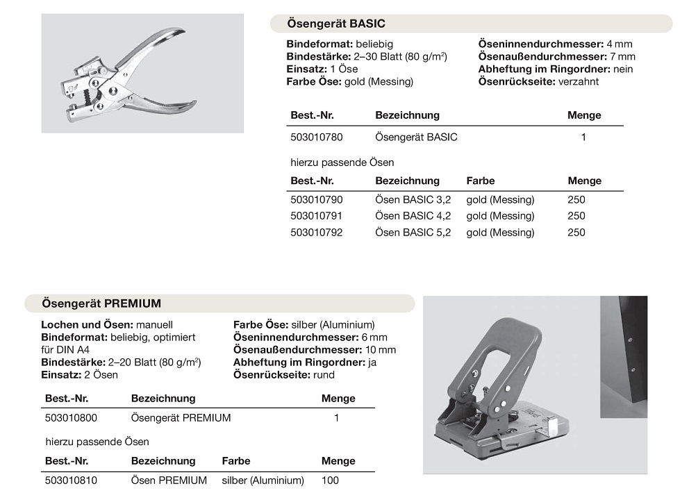 Ösenbindung-Basic-Premium, Kangaro EP 20, Turikan BP-01